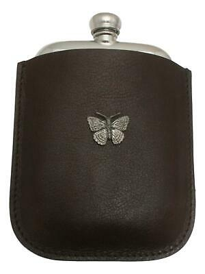 Butterfly S Pewter 4oz Kidney Hip Flask Leather Pouch FREE ENGRAVING 052