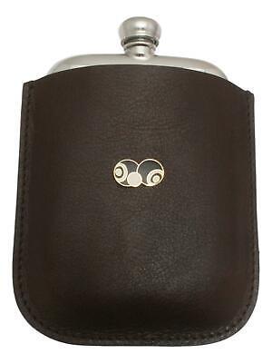 Bowls & Jack Black Enamel Pewter 4oz Hip Flask Leather Pouch FREE ENGRAVING 040