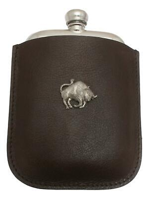 Bull Pewter 4oz Hip Flask Leather Pouch FREE ENGRAVING 046