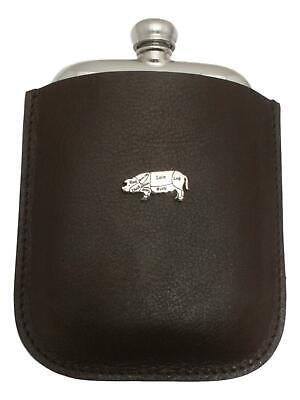 Butcher Pig Pewter 4oz Kidney Hip Flask Leather Pouch FREE ENGRAVING 49