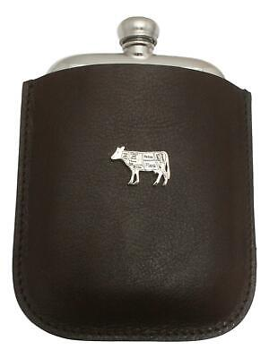 Butcher Cow Pewter 4oz Hip Flask Leather Pouch FREE ENGRAVING 48