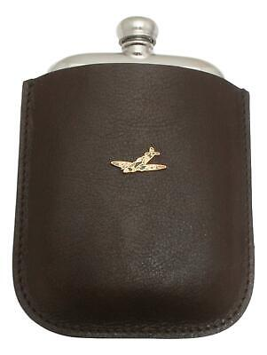 Camo Spitfire Pewter 4oz Kidney Hip Flask In Leather Pouch FREE ENGRAVING 57