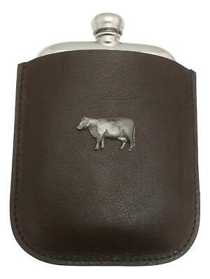 Beef Cow Pewter 4oz Kidney Hip Flask Leather Pouch FREE ENGRAVING 030