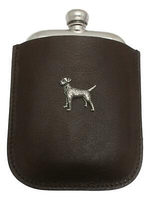 Border Terrier Pewter 4oz Kidney Hip Flask Leather Pouch FREE ENGRAVING 037