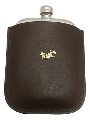 Camo Lancaster Pewter 4oz Kidney Hip Flask In Leather Pouch FREE ENGRAVING 56