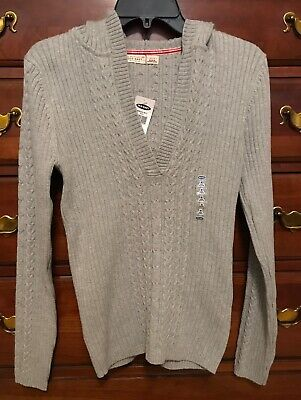 Old Navy Women's Medium Gray Hooded Cable Knit Sweater Cable Knit Hooded Sweater