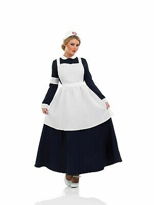 Womens Victorian Nurse Costume Adult Florence Nightingale Fancy Dress S -XXL WW1
