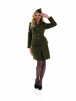 Womens WW2 Army Girl Costume Ladies World War 40s Military Fancy Dress S - XXL  - World War 2 Army Girl Costume