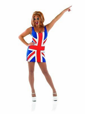 Womens Ginger Spice Girls Dress Costume + Wig - Fancy Dress Spice Girls