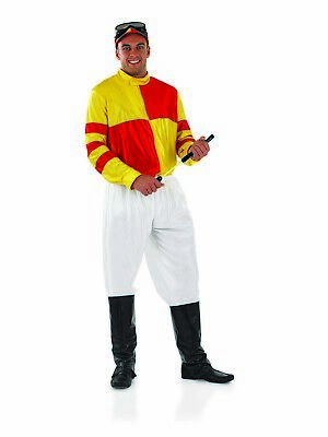 Mens Jockey Costume Adult Horse Racing Rider Fancy Dress S - XL Grand - Horse Racing Kostüm