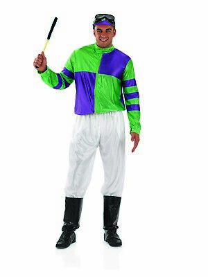 Mens Jockey Costume Adult Horse Racing Fancy Dress S - XL Grand National - Horse Racing Kostüm