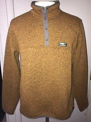 Mens LL BEAN Pullover Fleece Better Sweater Size XL Snap Collar Orange