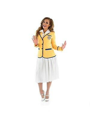 Womens Hi De Hi Costume S-3XL Ladies 80s Holiday Camp TV Yellow Coat Fancy Dress