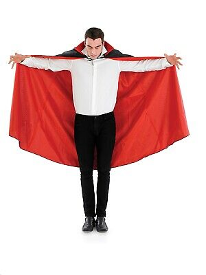 "Adults Long Dracula Vampire Cape Halloween Black Red Fancy Dress Accessory 56/"""