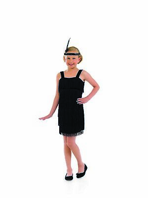 Girls 20s Black Flapper Fringe Dress S - XL Kids 1920s Charleston Fancy - 1920 Kid Kostüm