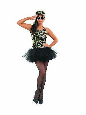 Womens Army Girl Camo Tutu Costume S-XL Ladies Sexy Soldier Military Fancy - Sexy Camo Kostüm