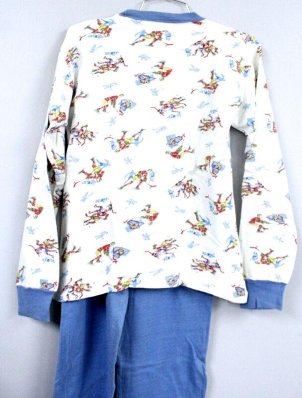 VTG 50s Dr. Denton Boys Pajamas Cotton Knit Olympic Print Christmas Story Look S