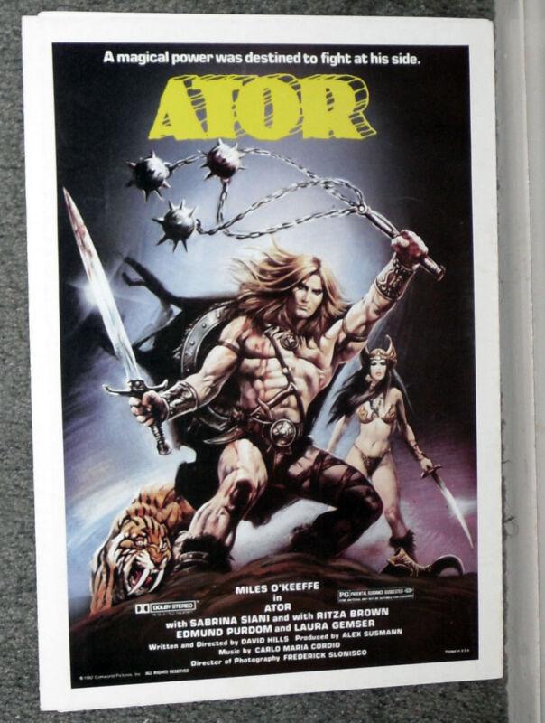 ATOR original 1982 movie pressbook MILES O