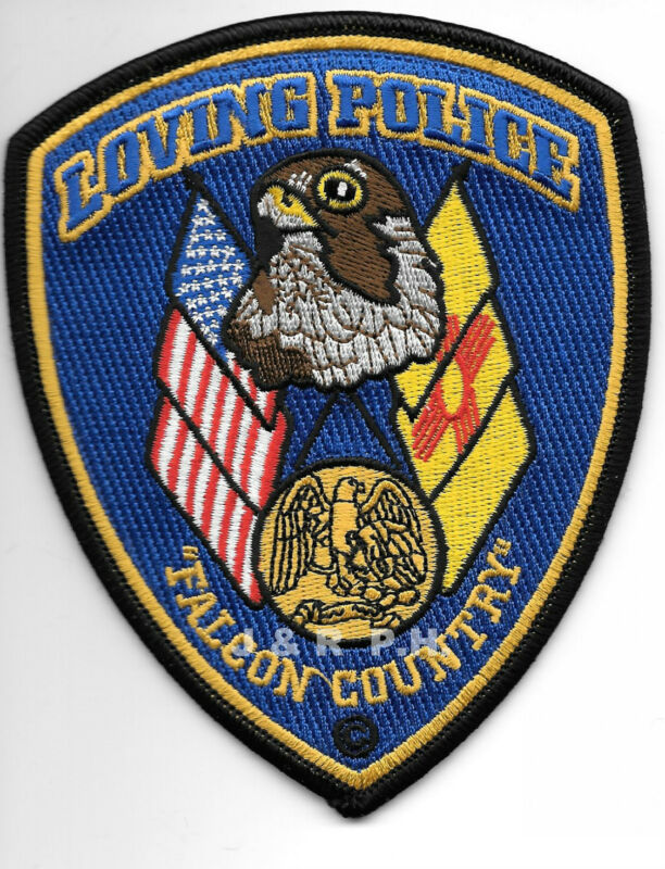 """Loving, NM  """"Falcon Country"""" (4"""" x 5"""" size)  shoulder police patch (fire)"""