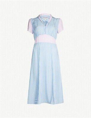 HVN Morgan Gingham-print Silk Midi Dress BNWT RRP £560