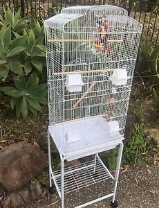 BRAND NEW Tall White cage with trolley $95 - eftpos avail Meadowbrook Logan Area Preview