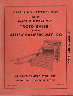 Allis-chalmers Operating Instructions Repair Parts Illustrations Roto-baler