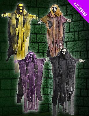 4 x CHEAP Hanging Coloured Skeleton Halloween Decorations BARGAIN PRICE 50cm