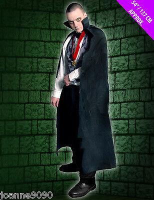 Halloween Vampire Dracula Long Black Cape Budget Adult Fancy Dress Costume