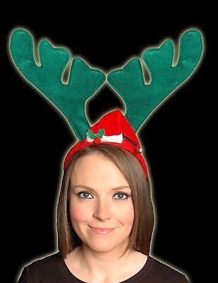 Ren-Geweihe Stirnband mit Weihnachtsmütze - One Size - Weihnachten (DP51)