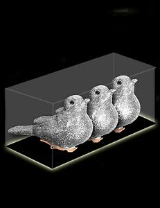 Pack-Of-3-8cm-SILVER-Clip-On-Birds-Christmas-Tree-Decorations-DP122
