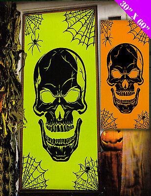 Halloween Neon Skull DOOR Banner cover Poster Decoration FREE UK P&P (Halloween Skeleton Decoration Uk)
