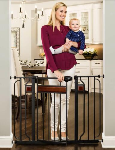 Regalo Home Accents Extra Wide Walk Thru Baby Gate Includes Décor Hardwood NEW