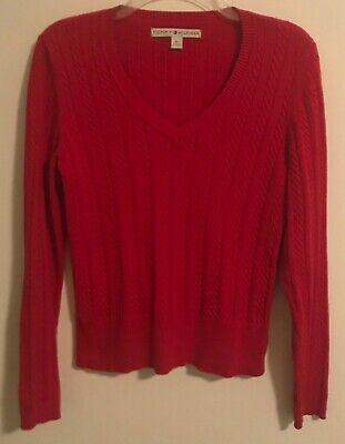 Tommy Hilfiger Womens Medium Cable Knit Sweater Red Long Sleeve for sale  Shipping to India