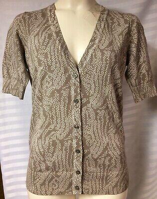 - Ann Taylor Womens V-neck cardigan print sweater short sleeve medium cotton