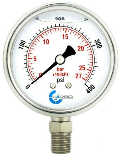 "2-1/2"" Pressure Gauge, ALL STAINLESS STEEL, Liquid Filled, Lower Mnt, 400 Psi"