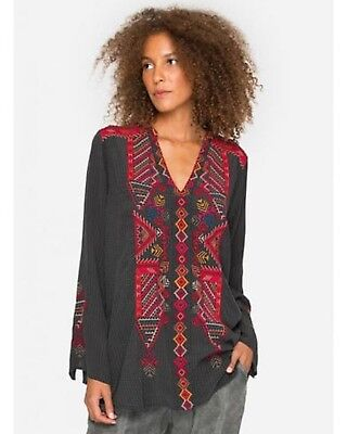 Biya By Johnny Was Embroidered Oohla Silk Blouse Top   B11517  New Boho Chic