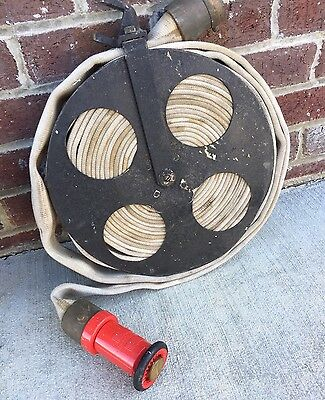 VINTAGE STEAMPUNK  FIRE REEL & HOSE WITH BRASS FITTING