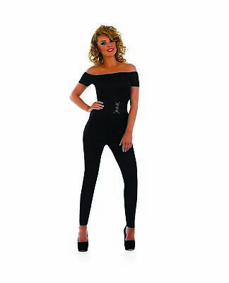 Womens Black 70s Movie Sweetheart Catsuit S -XL Sandy Grease Fancy Dress - Sandy Fancy Dress Kostüm