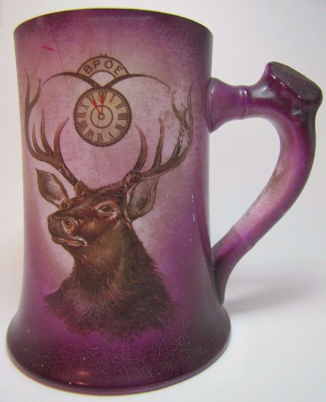 Antique BPOE Elks Porcelain Tankard Mug National Art China Co Trenton New Jersey