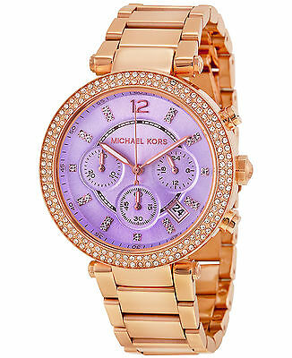Michael Kors MK6169 Parker Purple Dial Chronograph Rose Gold-Tone Women's Watch