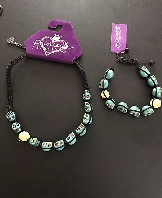 NWT Princess Vera Wang Turquoise Skull Necklace & Bracelet Set