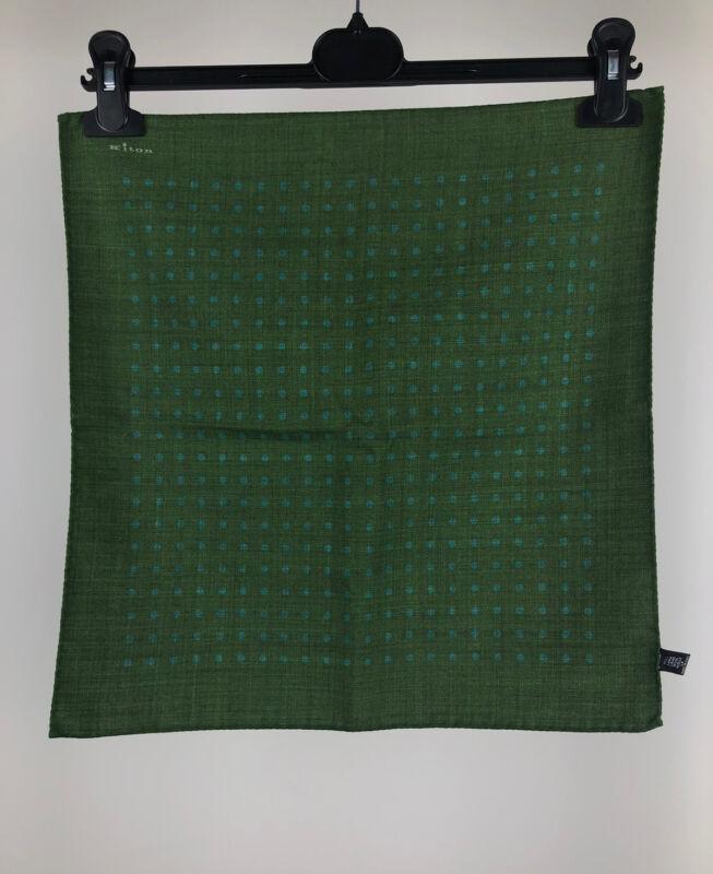 Kiton Napoli Green Dot Print Lana Wool Square Scarf