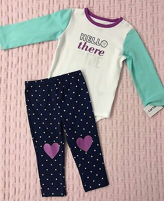 New/Tags 9 Month Carter's Baby Girl's 100% Cotton 2-Piece Bodysuit/Leggings Set