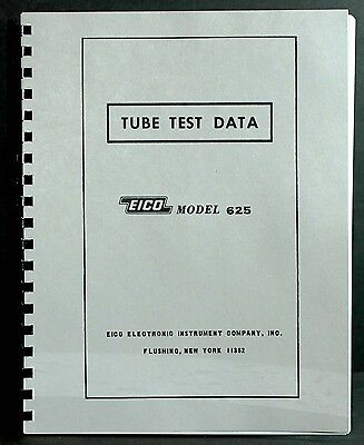 Eico 625 Tube Tester Complete Tube Test Data Book