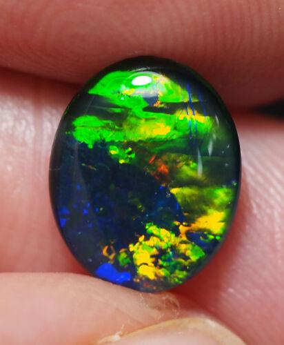 Super Gem A+++ Natural Australian Coober Pedy Opal Triplet 10x8 mm pendant ring