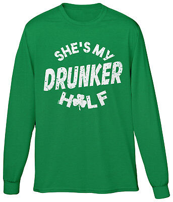 Funny Couple Costumes (Shes My Drunker Half St Patricks Day Funny Couple Costume Joke Humor Mens LS)