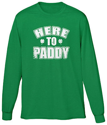 Mens St Patricks Day Costumes (Here To Paddy St Patricks Day Parade Festival Costume Pun Funny Joke Mens LS)