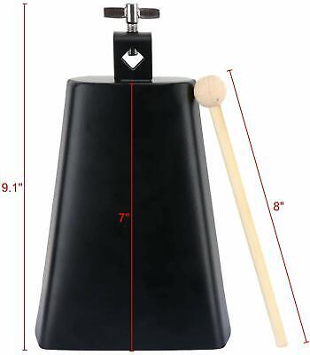 """7"""" Metal Steel Cow Bell Noise Maker Cowbell Percussion Instrument & Handle Stick"""