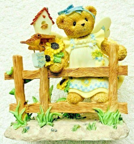 Very Rare Cherished Teddies 114038 Sammie Angel Wings Bird House Flowers Fence -