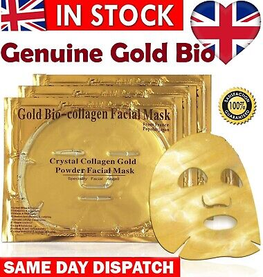 5 x 24K Gold Bio Collagen Face Mask Wrinkle Tired Crow Feet Puffy Eyes Treatment